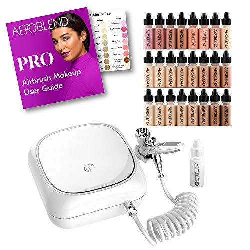 Aeroblend Airbrush Makeup PRO Starter Kit - Professional Cosmetic Airbrush Makeup System - 24 Color