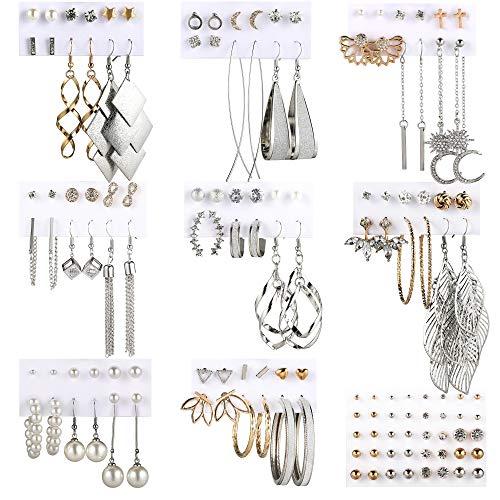Funtopia 68 pares de pendientes colgantes para mujer y niña, pendientes de perla, para regalo de fiesta (oro y plata).