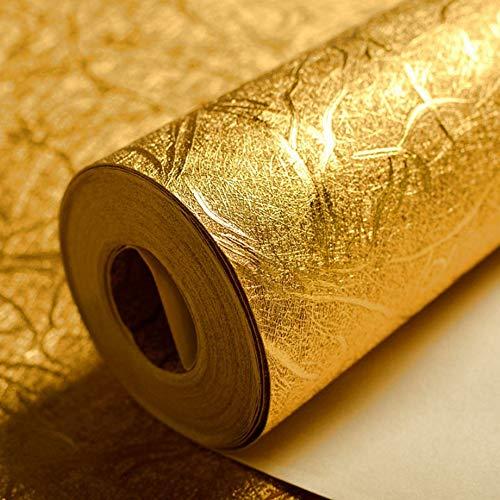 KeTian luxuriöse Tapete mit Goldfolie, modernes Design, dick, wasserdicht, zur Wanddekoration, Papierrolle / für Hotels / Deckenleuchte / Deko / Bar, goldfarbene Tapetenrolle, 0,53 x 10 m = 5,3 m²
