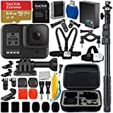 "GoPro HERO8 (Hero 8) Action Camera (Black) with Adventurer Accessory Bundle - Includes: SanDisk Extreme 64GB microSDXC Memory Card + 48"" Selfie Stick/Monopod + Protective Carrying Case + More"