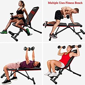 FirstE Adjustable Weight Bench, Foldable Strength Training Benches Press for Full Body Workout,Incline Decline Exercise Flat Fitness Bench for Home Gym, 550 lbs Capacity, 9+4+2 Positions Adjustable