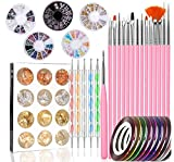 Peinture Brosse à Pinceaux 47 pièces Nail Art fournitures 15 Nail art Brosses Set 5 Stylos Dotting 10 Striping Tape 5 Nail Art Strass 12 Couleur Glitter pour Kit de Nail Art Décoration