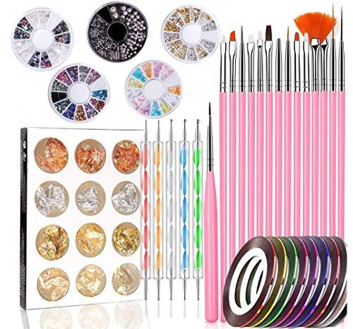 Kit de Diseño de Arte de Uña 47 piezas Decoración Uñas Nail Art 15 Pincel Uñas 5 Lápiz de Punto 10 Cintas Adhesivas Uñas 5 Diamantes de Imitación 12 Pegatina Lámina Paillette para Diseño de Uñas