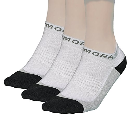 Rymora Ankle Trainer Socks for Men and Women (Premium Quality, Cushioned, Ventilated, Cotton Rich, Low Cut, Seamless Toe Seams) (White) (3 Pairs) [M] (Medium: UK 7-10 / EU 40-44)