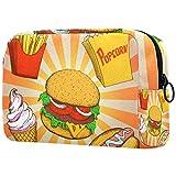Borsa da toilette per il trucco per organizer da viaggio cosmetico per borsa da donna,Cartoon popcorn hamburger patatine fritte hot dog gelato