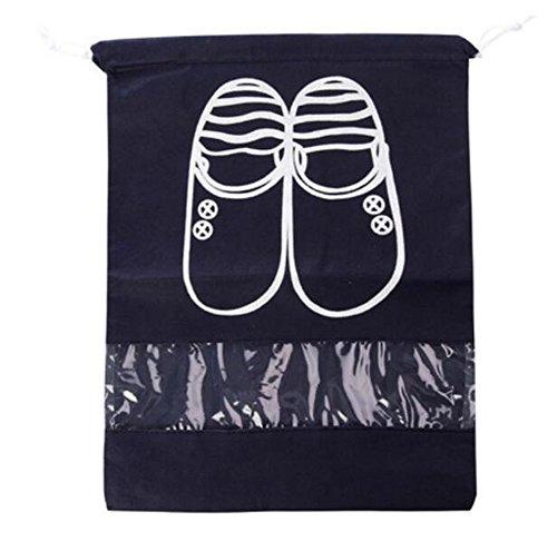 Lot de 4 sacs à chaussures WeiMay en tissu non-tissé doux - Étanche à la poussière - Sac de rangement avec cordon, Non-tissé, schwarz, Large
