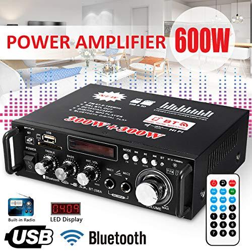 Aoile - Amplificador LCD de 600 W con Audio HiFi, estéreo, Bluetooth, FM, 2 Canales, Amplificador, USB, SD, Reproductor de MP3
