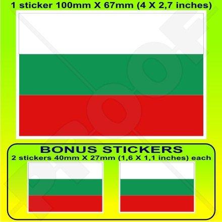 Bulgarie Bulgare Drapeau 10,2 cm Bumper Sticker en vinyle (100 mm), en x1 + 2 Bonus