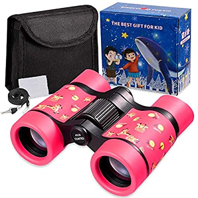 Newraturner Rubber 4x30mm Toy Binoculars for Kids - Waterproof Folding Small Kids Telescope for Bird Watching,Travel, Camping (Pink -01)