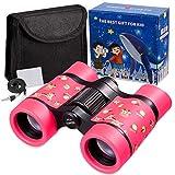 Newraturner Rubber 4x30mm Toy Binoculars for Kids - Waterproof Folding Small Kids Telescope for Bird Watching,Travel, Camping (Pink -01)