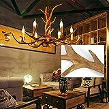 Lámpara de techo E12, 6 cabezales, diseño de cuernos de ciervo
