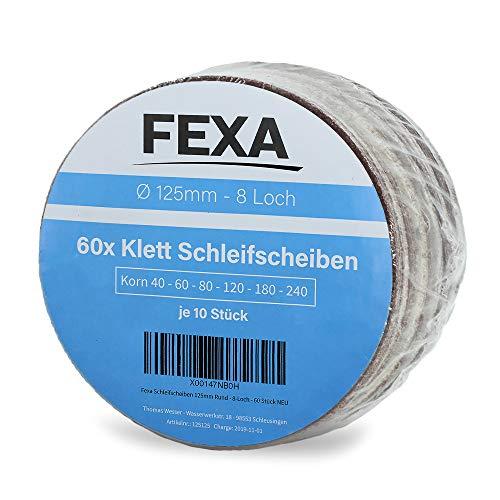 Klett Schleifscheiben-Set 125mm Rund - Fexa Exzenter-Schleifer - 8-Loch Schleifpapier Schleifblätter - 60 Stück