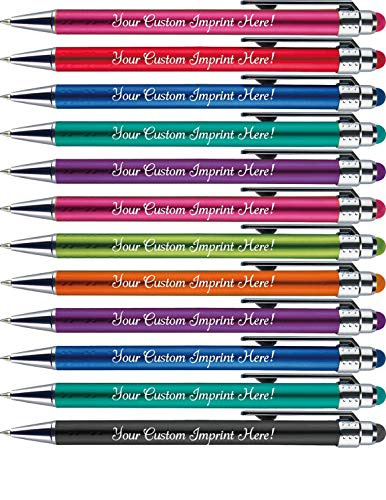 Personalized Pens with Stylus Tip -Bright Vibes- Click action - Custom - Black writing - Printed Name pens - Imprinted with Your Logo or Message - FREE PERSONALIZATION - 12 Pens/Box (Assorted)