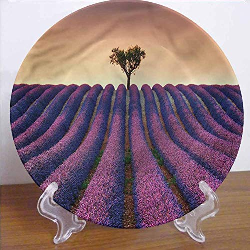 Channing Southey 8 Inch Tree Customized Dinner Plate Lavender Flowers Field Round Porcelain Ceramic Plate Microwave & Dishwasher Safe Decor Accessory for Party Kitchen Home Decor