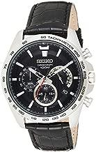 Seiko SSB305P1 Men's Black Dial Black Leather Strap Chrono Watch
