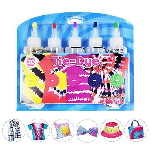 no branded Farbset , DIY Tie Dye Kit (5 Farben) Baumwoll-Leinen-Kleidungsfarben , Mode-Kleidungsfarben Mit Farbpaketen, Schutzhandschuhe Für Anfänger