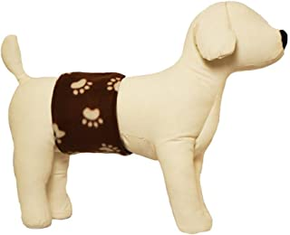 Cuddle Bands Male Dog Belly Band for Housetraining and Incontinence - Washable and Reusable Dog Diaper (Brown Paw Print)