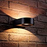 Auraglow Black Integrated LED Contemporary Ring Design Outdoor Up and Down Wall Light – IP54, Warm White for Home Security, Porch, Garage, Drive and Garden