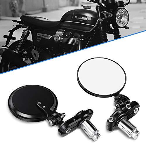 Aolead Specchietti Moto 7/8'' Universal Moto Specchio 22mm Manubrio Fine per Bike Cruiser - Rotondo, Nero