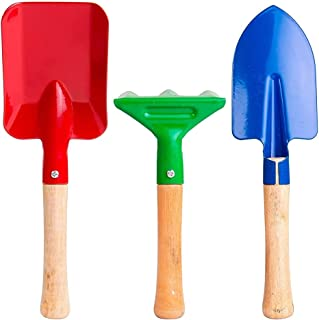 "BZCSHOW Garden Tools 3-Piece Set, 8"" Metal with Sturdy Wooden Handle Safe Gardening Tools Trowel, Rake & Shovel for Women,..."
