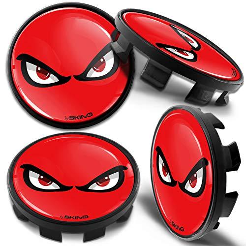 Biomar Labs® 4 x 68mm Tapas de Rueda de Centro Tapacubos Centrales Llantas Aluminio Compatible con BMW Part. No. 36136783536 Negro Rojo No Fear para Coche CB 9