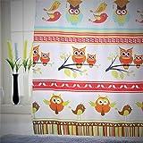 VÄLSON Duschvorhang 180x180 cm Happy OWL incl. Ringe mit verstärkte Lochleiste & Gewichtsaum Antibakteriell