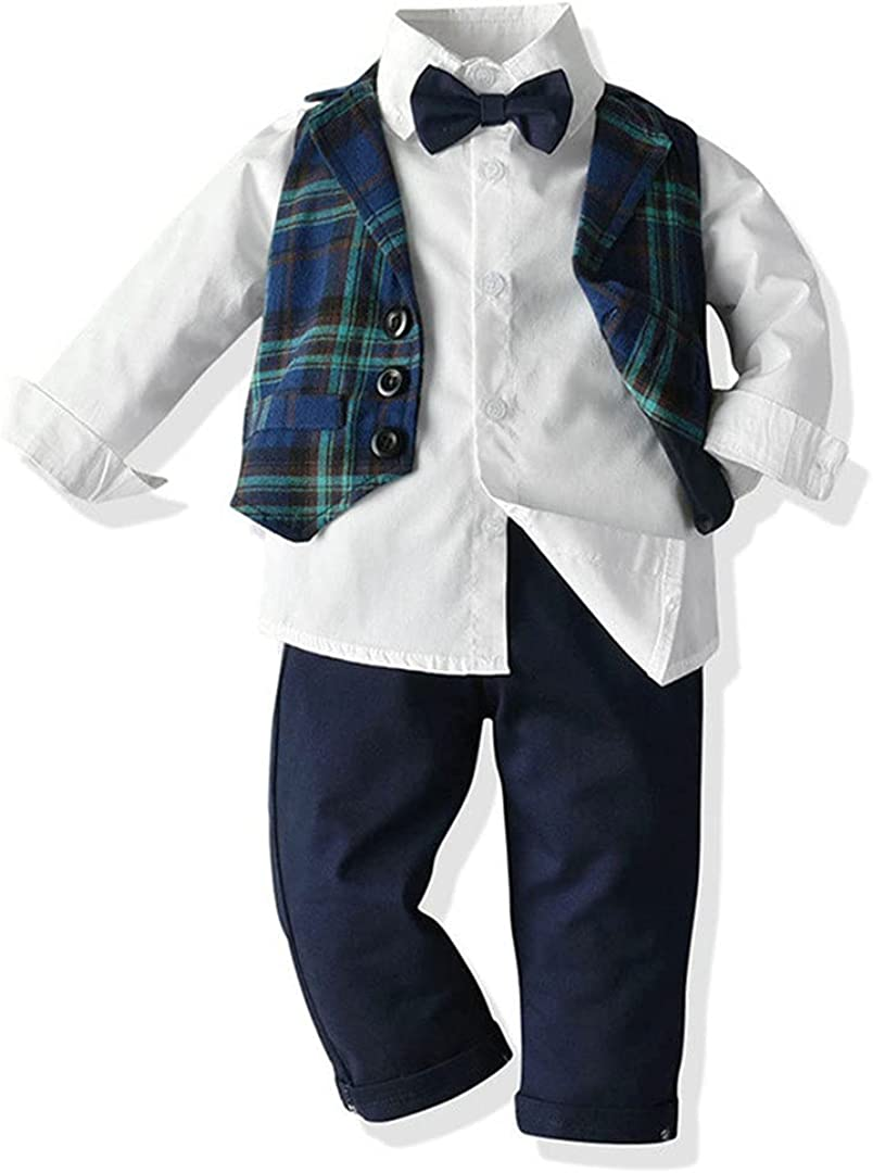 Little Boys Clothing Set Long Sleeve Bowtie Shirt+Plaid Vest+Trousers 3Pcs Suit Boys Casual Tuxedo
