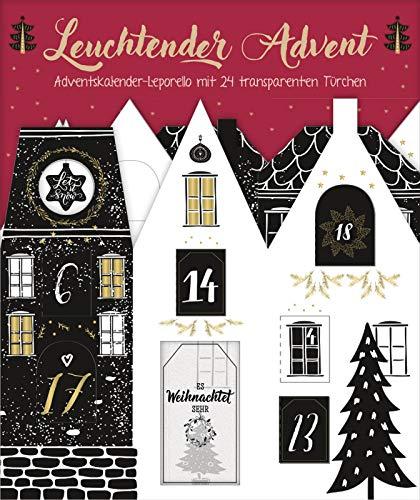 Leuchtender Advent. Edler Adventskalender-Leporello mit 24 transparenten Türchen: Adventskalender zum Aufstellen