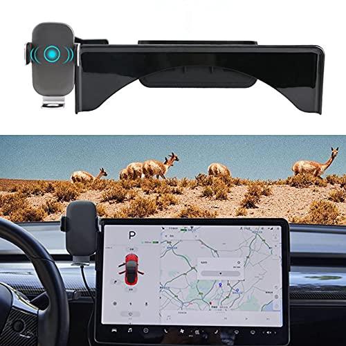 Soporte para teléfono para automóvil con cargador inalámbrico para Tesla Model 3 2016-2021, soporte para teléfono celular con caja de almacenamiento para gafas de sol