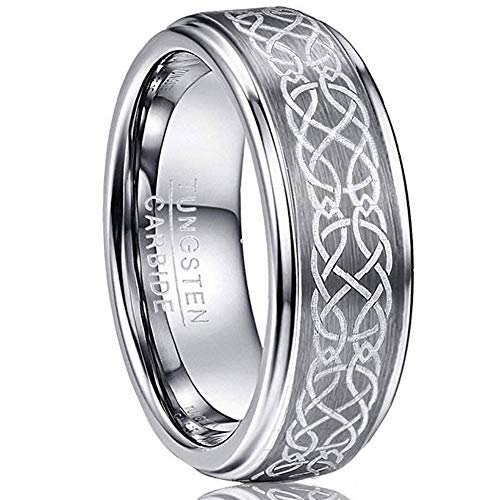 VAKKI Mens 8mm Center Brushed Celtic Tungsten Wedding Ring for Men Polished Finish Step Edge Size 11