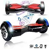 Magic Vida 8´´ Patinete Eléctrico Bluetooth Scooter Monopatín LED Atractivo(Negro&Rojo)