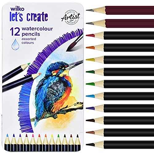 12 lápices de dibujo profesionales, 10 lápices de colores y 2 lápices de grafito (HB + 2B) para adultos, niños, artistas y principiantes con caja de hojalata