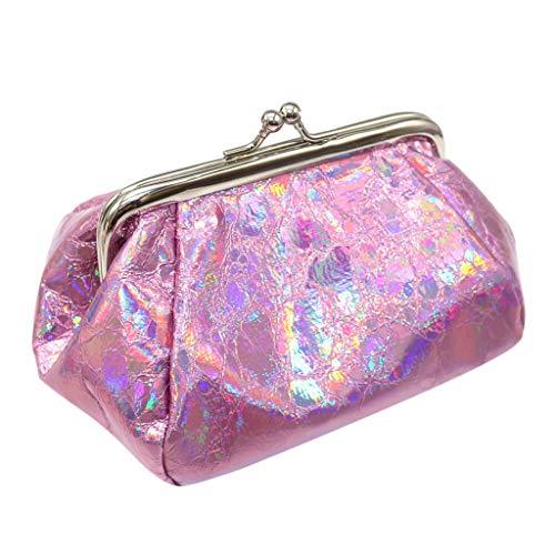 Mini Portemonnaie Piebo Damen PU Leder Kleine Süß Laser Geldbörse Mini Brieftasche Holder Clutch Handtasche Münze Brieftasche für Frauen Handgefertigtes Portmonee (HeißRosa)