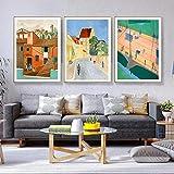 HJKLP Famoso Viaje Ciudad Paisaje Anime Abstracto Graffiti Cartel Lienzo Pintura impresión Pared Arte imágenes para decoración Interior del hogar 40x60cmx3 sin Marco