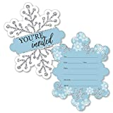 Big Dot of Happiness Winter Wonderland - Shaped Fill-in Invitations - Snowflake Holiday Party and Winter Wedding Invitation Cards with Envelopes - Set of 12