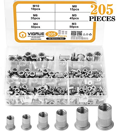 VIGRUE 205PCS 304 Stainless Steel Rivet Nut Assort Set Flat Head Threaded Rivetnut Insert Nutserts Assortment Kit(M3| M4| M5| M6| M8| M10)