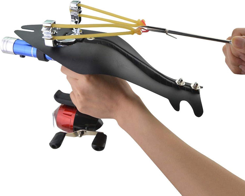 Powerful Pro Outdoor Bowfishing Slingshot Reel Catapult Archery Bowfishing Arrows Slingbow with Fishing Reel,Fishing Reel Rack,Flashlight