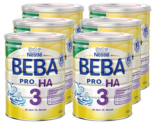 Nestlé BEBA PRO HA 3, Folgenahrung ab dem 10. Monat, Baby-Nahrung als Pulver, mit hydrolisiertem Eiweiß, enthält Vitamin A, C & D, 6er Pack (6 x 800g Dose)