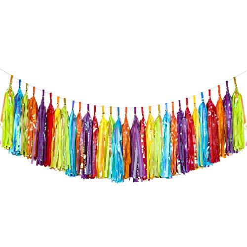 30 Piezas de Borlas Guirnalda de Borlas Coloridas de Fiesta Borlas de Papel de Seda y Papel Metálico Guirnalda para Decoración de Cumpleaños Boda Favores de Fiesta, 6 Colores