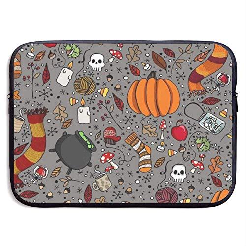 Pumpkin Halloween Boiler 13-15 Inch Laptop Sleeve Bag Portable Dual Zipper Case Cover Pouch Holder Pocket Tablet Bag,Water Resistant For Women Men Unisex