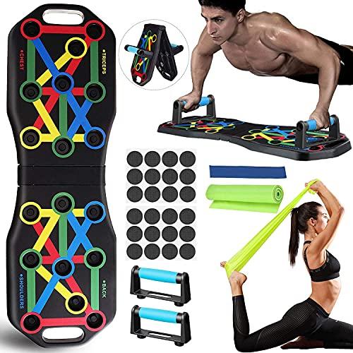 Jeteveven 13 in 1 Push Up Board, Push Up Rack Board Pieghevole e Multifunzione Attrezzature per Fitness per allenamento muscolare, Push-Up Portatile Usato per Uomini Donne per Allenamento a Casa