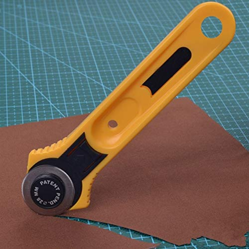 JPONLINE 1pcs 28mm Rotary Cutter Leather Craft Circular Cut Yellow Blade Patchwork Fabric Sewing Hand Tools NEW