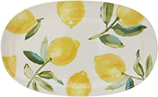 Repeated Lemon Tree Design On Classic White 15 x 9.5 Stoneware Platter
