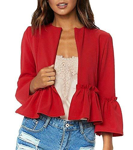 Stile Saggio Moda Donna Manica Campana Piana Volant Peplum Blazer Ladies Casual Fronte Aperto Cappotto Rosso 52-54