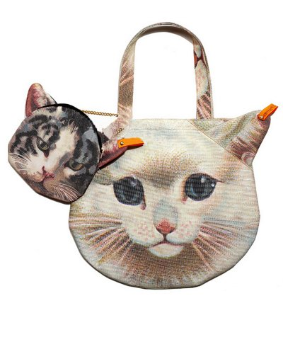 Photo Print 3D Cat Face Cute Kitty Tote Bag Handbag Set