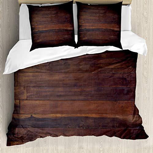 ABAKUHAUS Schokolade Bettbezugs Set Für Doppelbetten, Im Alter von Dark Timber, Milbensicher Allergiker geeignet mit Kissenbezügen, Dunkelbraun