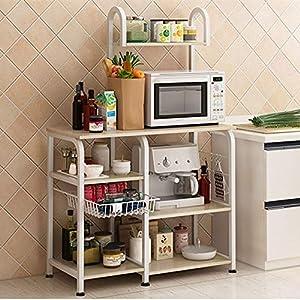 Mr IRONSTONE Kitchen Baker's Rack Utility Storage Shelf 35.5″ Microwave Stand 4-Tier+3-Tier Shelf for Spice Rack Organizer Workstation(Dark Brown)