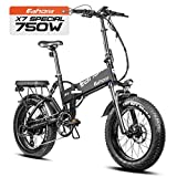 eAhora X7 Special 750W Fat Tires Electric Bikes for Adults 48V 14Ah Folding Electric Bicycles Dual Hydraulic Brakes Electric Bike Commuting Ebikes Full Suspension Cruise Control, Color Screen, 8 Speed