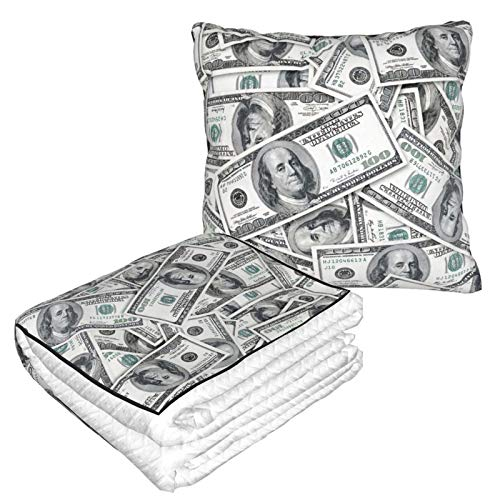 Us Dollars - Almohada de viaje (forro polar, 2 en 1)