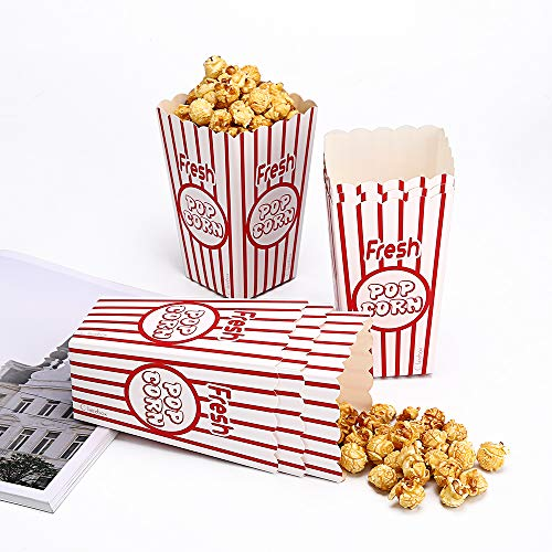 Popcorn Boxes Party Bags Food Grade - Supplies for Movie Night Theme Party - Movie Theater Decor Red and White (20boxes)